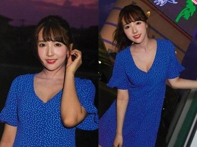 三上悠亜 写真集撮影時に着用した私物の青地に白ドットのワンピース1-horz