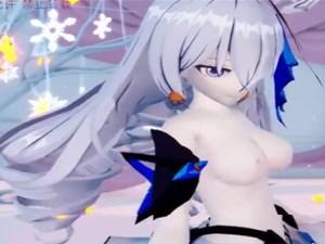 【3Dエロアニメ】崩壊3rdのブローニャがダンス中に服がどんどん脱げて裸踊りになっちゃう【MMD】