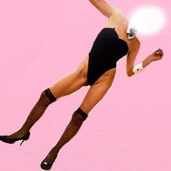 バニーガールの衣装で全身で踊っている