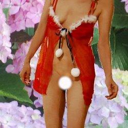 紫陽花を背景に赤いスケスケ下着