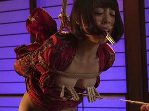 【七海ゆあ】緊縛され吊られ小さな乳首を凌辱されヨダレを垂らしながら確実に感じているマゾ美少女