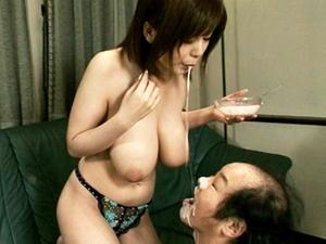 【大島あいる】Icup超乳ヘルパーがフェラパイズリで老人たちの性処理して咀嚼して食事介護