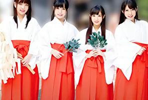 黒髪美少女の巫女さん4人組がいる神社、そこで行われる儀式という名のハーレム大乱交!!