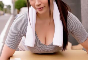 洋服の上からでもわかる爆乳の美人妻が近所の男性を誘惑、濃密不倫セックス!