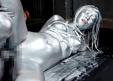 美乳クビレボディがピカピカのシルバーへと輝くフェチエロ映像、調教緊縛セックス!!