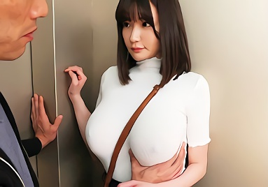 【筧ジュン】Jカップ巨乳の超絶カワイイお姉さんがノーブラ透けおっぱいで男を誘惑、エレベーター内で濃密セックス!!