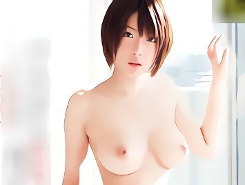 【小倉ゆず】竹内由恵似、ショートカット巨乳の超絶カワイイ美少女のパイパンマンコを犯しまくる激ピストン3Pセックス!!