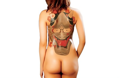 【黒咲しずく】背中に般若の刺青が入ってる長身スレンダーの激カワ美少女が男優2人に犯される激ピストン3Pセックス、フィニッシュは刺青にぶっかけ!!