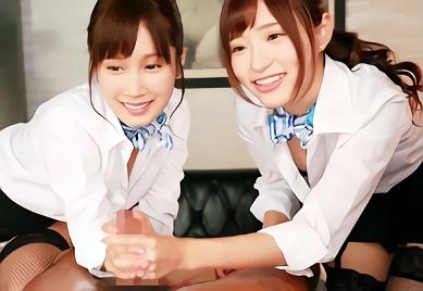 【小島みなみ・天使もえ】超絶カワイイ美乳スレンダー美少女たち2人が常に密着しながらご奉仕してくれる高級風俗、極上のハーレム3Pセックス!!