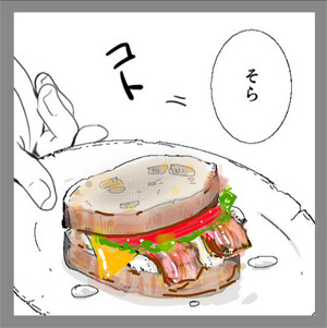 ベーコンチーズサンドイッチ(色塗り1)