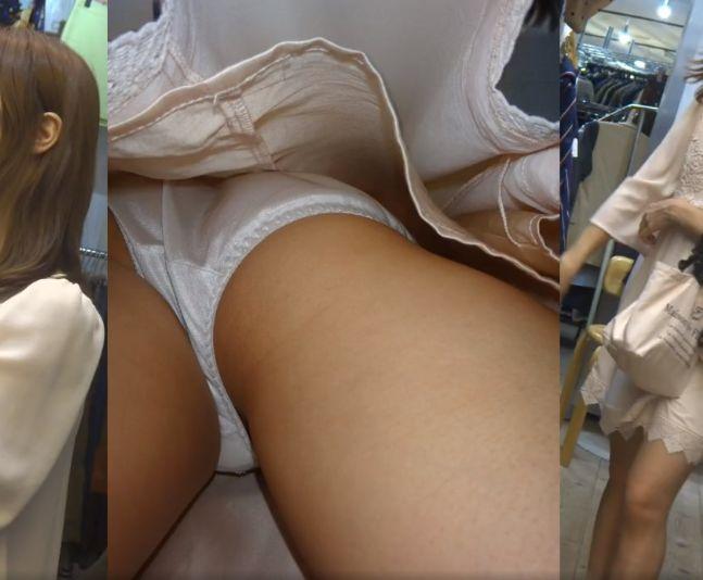 服を選んでいる可愛い女の子を逆さ撮りからのデジカメ突っ込み何度もパシャリ[盗撮]