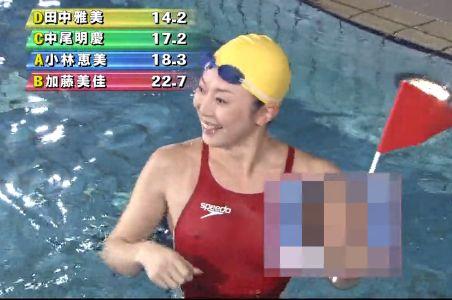 生放送でノーパットの競泳水着で泳いだら乳首があり得ない程スケ捲りハプニング!
