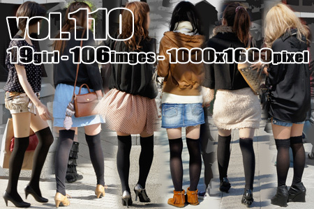 ■vol110- むっちり美脚に履いた質感の良い黒系ニーハイソックス