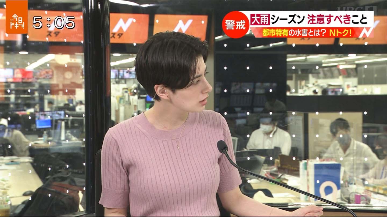 H画像案内【ホラン千秋(Nスタキャスター) ニット乳!おでこ全開キス顔】