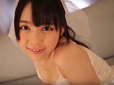 【無修正】佳苗るか ウェディングドレス姿の似合う激カワ美少女が生チンポに激しく突かれ痙攣イキ!