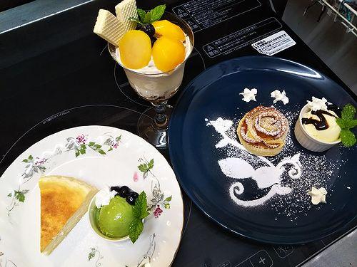 20180922草津温泉カフェ花栞(はなしおり)マロンパフェ、アップルパイ、チーズケーキ