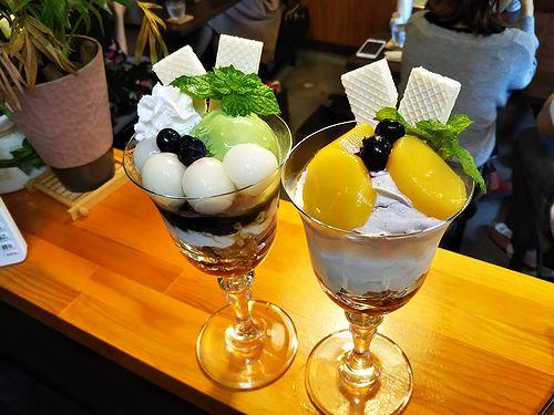 20181007草津温泉カフェ花栞(はなしおり)白玉抹茶パフェ、マロンパフェ2