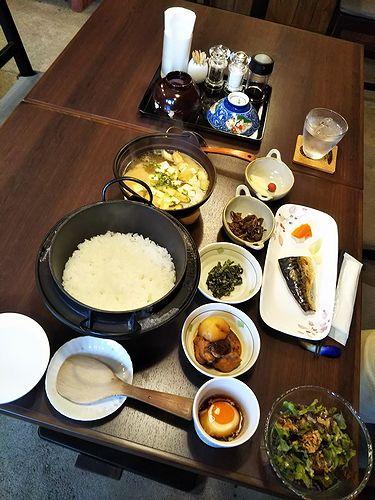 20181008草津温泉民泊花栞(はなしおり)今朝の宿泊のお客様の朝食