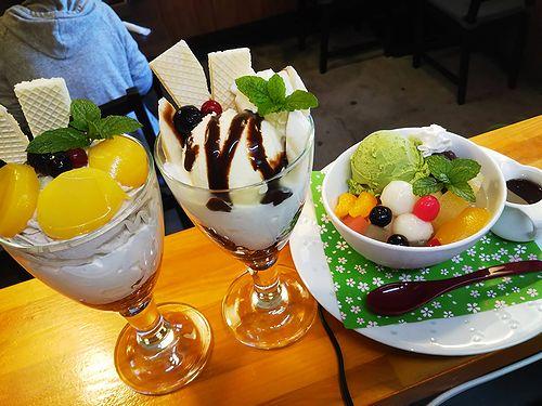 20181125草津温泉カフェ花栞(はなしおり)マロンパフェ、チョコバナナパフェ、白玉クリームあんみつ
