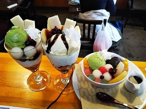 20190105草津温泉カフェ花栞(はなしおり)白玉クリームあんみつ、白玉抹茶パフェ、チョコバナナパフェ