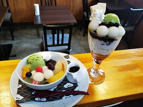 20190201草津温泉カフェ花栞(はなしおり)白玉クリームあんみつ、白玉抹茶パフェ