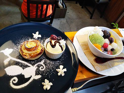 20190307草津温泉カフェ花栞(はなしおり)アップルパイ、白玉クリームあんみつ