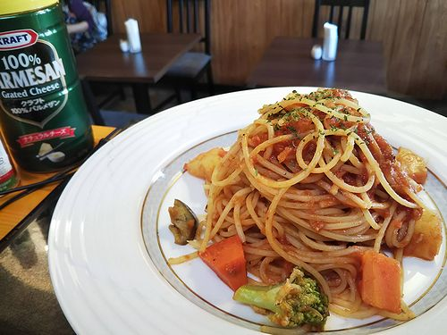 20190312草津温泉カフェ花栞(はなしおり)トマトソースのスパゲティ