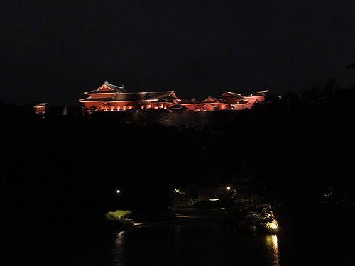 20190218沖縄県那覇市、ライトアップされた首里城