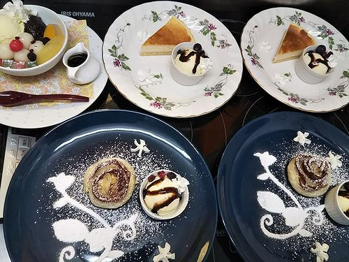 20190328草津温泉カフェ花栞(はなしおり)白玉クリームあんみつ、チーズケーキ、アップルパイ