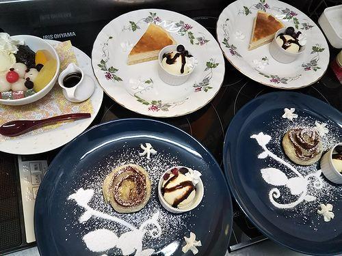 20190328草津温泉カフェ花栞(はなしおり)白玉クリームあんみつ、チーズケーキ、アップルパイ1