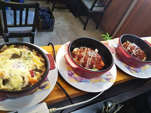 20190422草津温泉カフェ花栞(はなしおり)特製焼きカレー、トマトソース煮込みハンバーグ