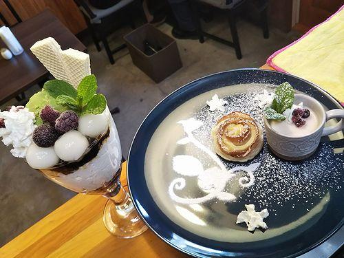 20190525草津温泉カフェ花栞(はなしおり)白玉抹茶パフェ、アップルパイ