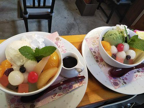 20190612草津温泉カフェ花栞(はなしおり)白玉クリームあんみつ