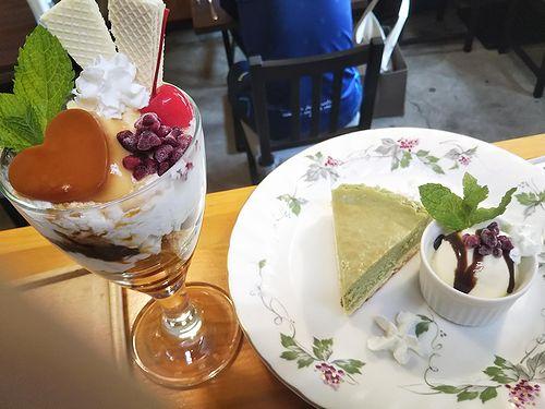 20190620草津温泉カフェ花栞(はなしおり)ハートプリンパフェ、抹茶チーズケーキ
