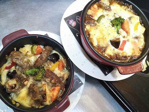 20190711草津温泉カフェ花栞(はなしおり)焼きチーズステーキ丼、焼きビーフシチュードリア