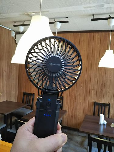 20190812草津温泉カフェ花栞(はなしおり)携帯用扇風機