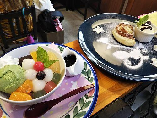 20190906草津温泉カフェ花栞(はなしおり)白玉クリームあんみつ、アップルパイ