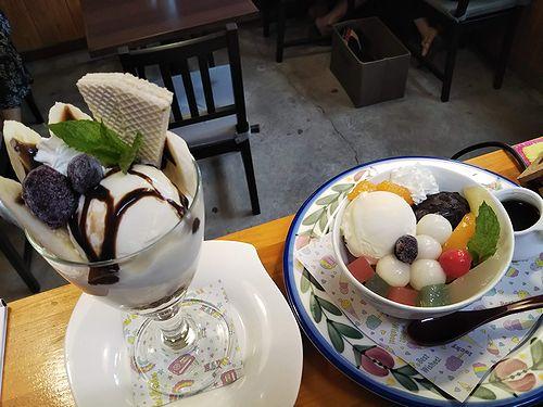 20190907草津温泉カフェ花栞(はなしおり)白玉クリームあんみつ、チョコバナナパフェ