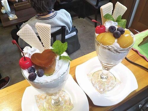 20191005草津温泉カフェ花栞(はなしおり)ハートプリンパフェ、マロンパフェ