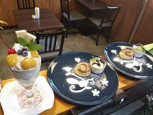 20191006草津温泉カフェ花栞(はなしおり)マロンパフェ、アップルパイ