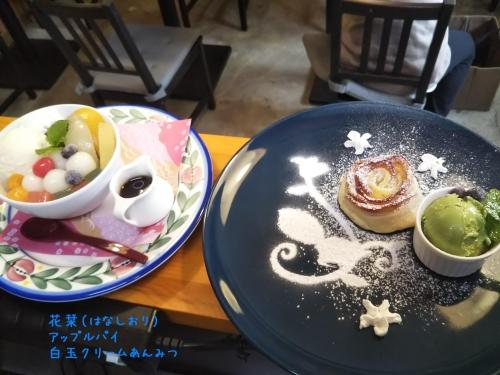 20191103草津温泉カフェ花栞(はなしおり)アップルパイ、白玉クリームあんみつ