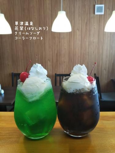 20200126草津温泉カフェ花栞(はなしおり)クリームソーダ、コーラフロート