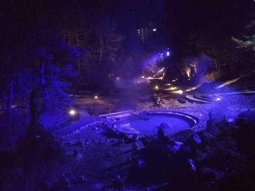20200215草津温泉。西の河原公園ライトアップ