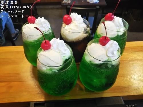 20200306草津温泉カフェ花栞(はなしおり)クリームソーダ、コーラフロート