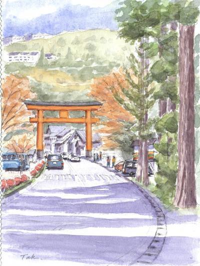 元箱根の杉並木と赤い鳥居2(合成Arc修正)_convert_20181122213351