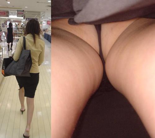 【OL街撮り盗撮エロ画像】タイトスカート履いたOL美女の汗ばんだパンツを真下から覗き見www