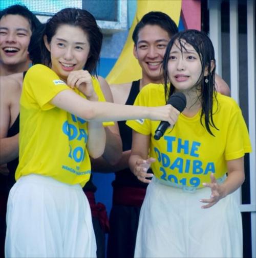【放送事故】フジテレビ女子アナ達が水をぶっ掛けられてずぶ濡れで透け透けwwwwwwwww