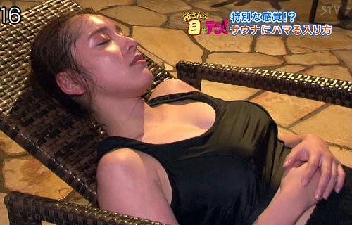 【デカパイ】都丸紗也華がサウナで汗だくになってエチエチ過ぎる…