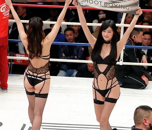 シュートボクシングのセクシー衣装ラウンドガールの舞台裏もエ□すぎるww