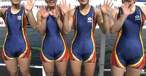 NHKで全日本ボート選手権女子インタビュー中、全員スパッツマ●コ食い込み主張が激しいww